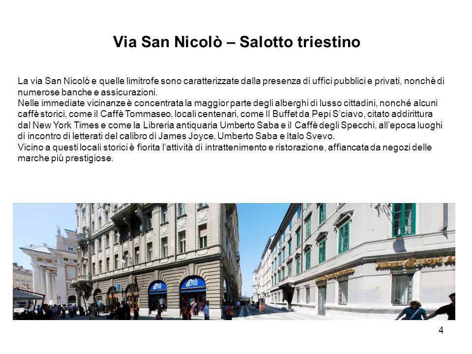 4 Via San Nicolò – Salotto triestino La via San Nicolò e quelle limitrofe sono caratterizzate dalla presenza di uffici pubblici e privati, nonchè di numerose banche e assicurazioni.