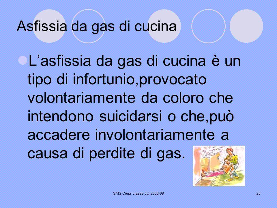 SMS Cena classe 3C 2008-0923 Asfissia da gas di cucina Lasfissia da gas di cucina è un tipo di infortunio,provocato volontariamente da coloro che intendono suicidarsi o che,può accadere involontariamente a causa di perdite di gas.