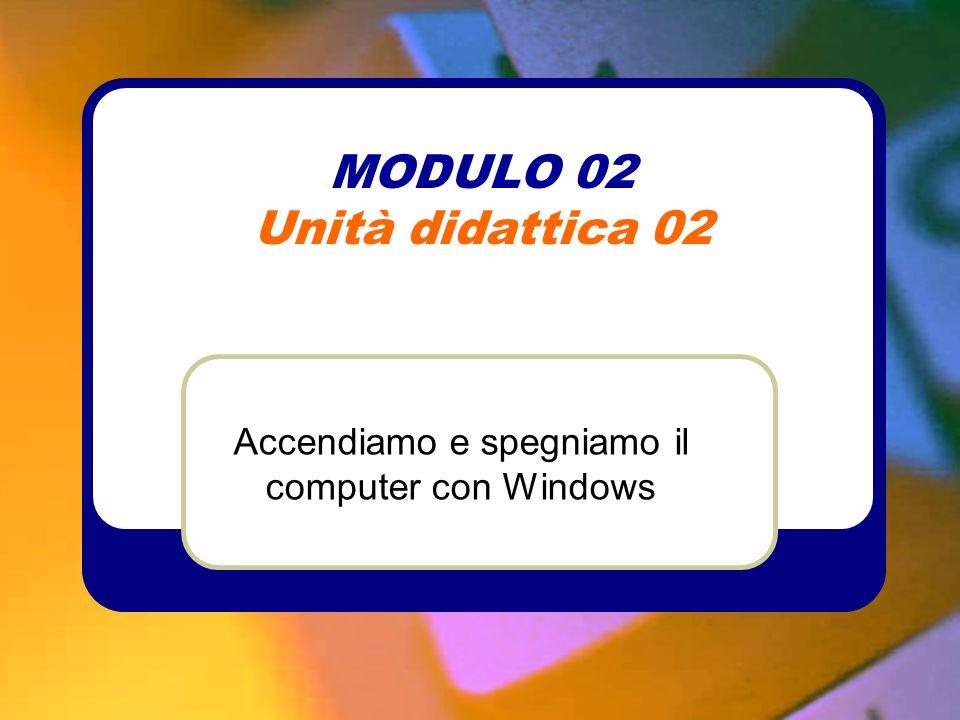 MODULO 02 Unità didattica 02 Accendiamo e spegniamo il computer con Windows