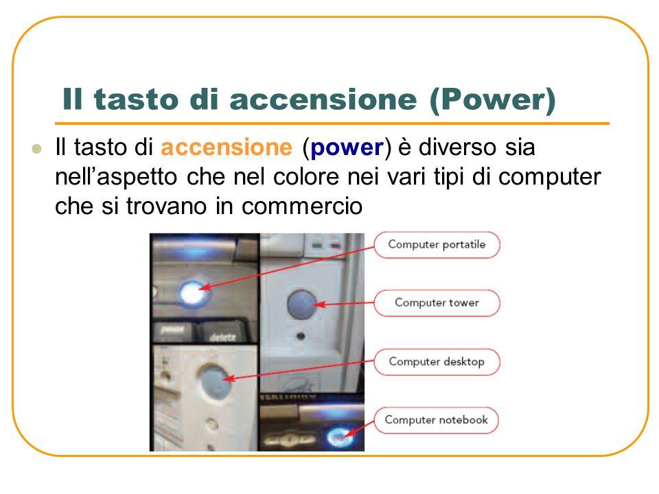 Il tasto di accensione (Power) Il tasto di accensione (power) è diverso sia nellaspetto che nel colore nei vari tipi di computer che si trovano in commercio