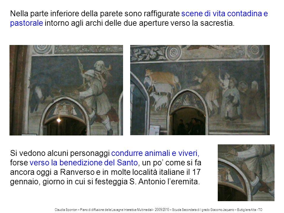 16 Nella parte inferiore della parete sono raffigurate scene di vita contadina e pastorale intorno agli archi delle due aperture verso la sacrestia. S