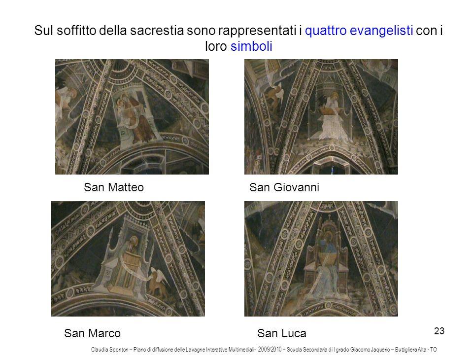 23 Sul soffitto della sacrestia sono rappresentati i quattro evangelisti con i loro simboli San MatteoSan Giovanni San MarcoSan Luca Claudia Sponton –