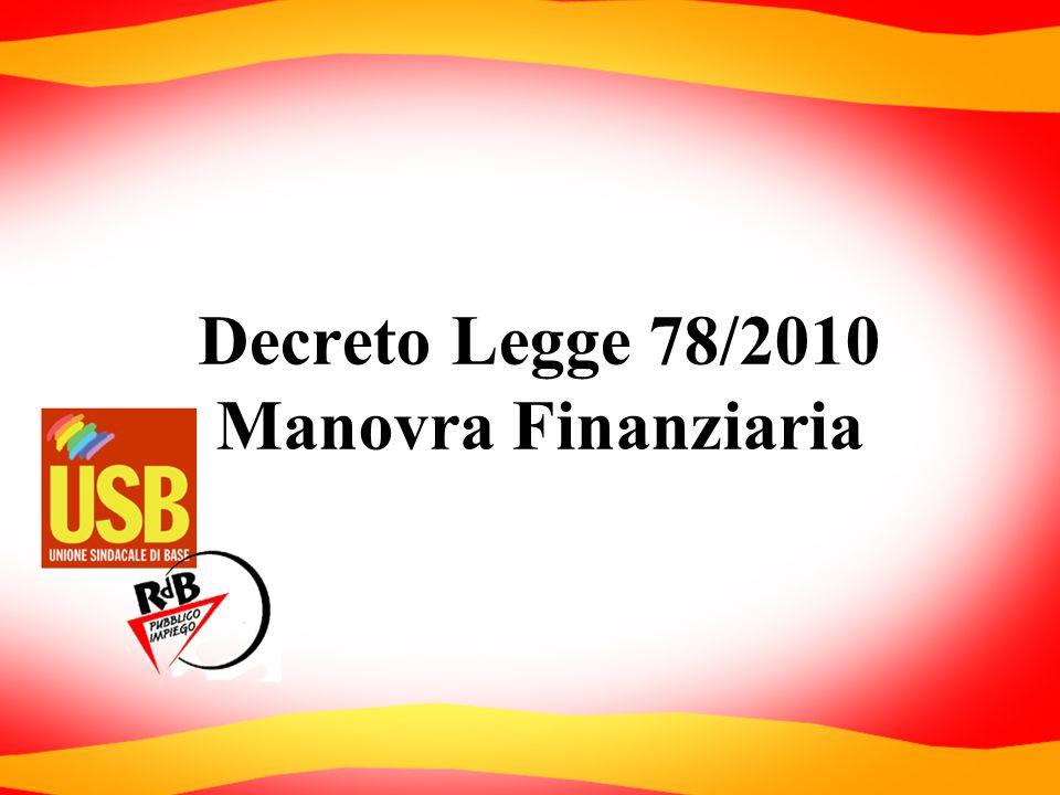 Decreto Legge 78/2010 Manovra Finanziaria
