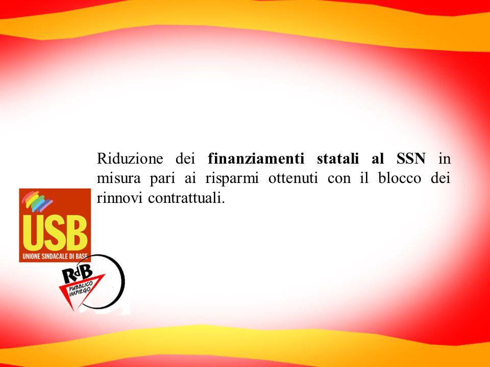 Riduzione dei finanziamenti statali al SSN in misura pari ai risparmi ottenuti con il blocco dei rinnovi contrattuali.