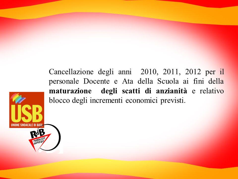 Cancellazione degli anni 2010, 2011, 2012 per il personale Docente e Ata della Scuola ai fini della maturazione degli scatti di anzianità e relativo b