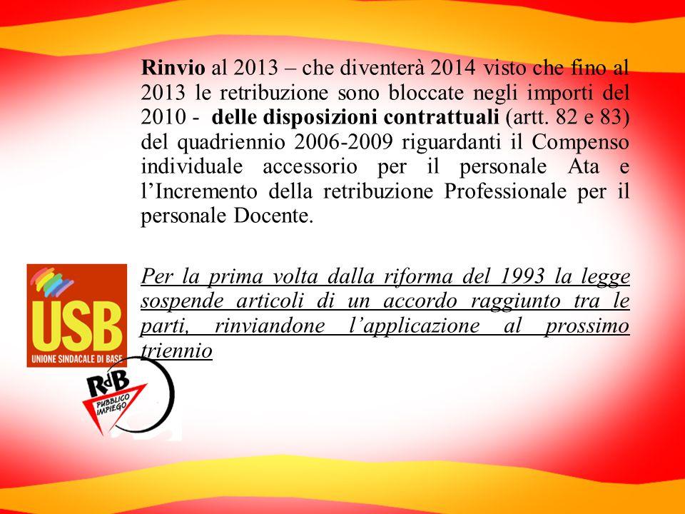 Rinvio al 2013 – che diventerà 2014 visto che fino al 2013 le retribuzione sono bloccate negli importi del 2010 - delle disposizioni contrattuali (art