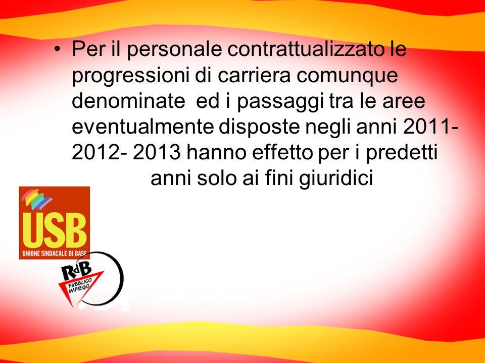 Per il personale contrattualizzato le progressioni di carriera comunque denominate ed i passaggi tra le aree eventualmente disposte negli anni 2011- 2