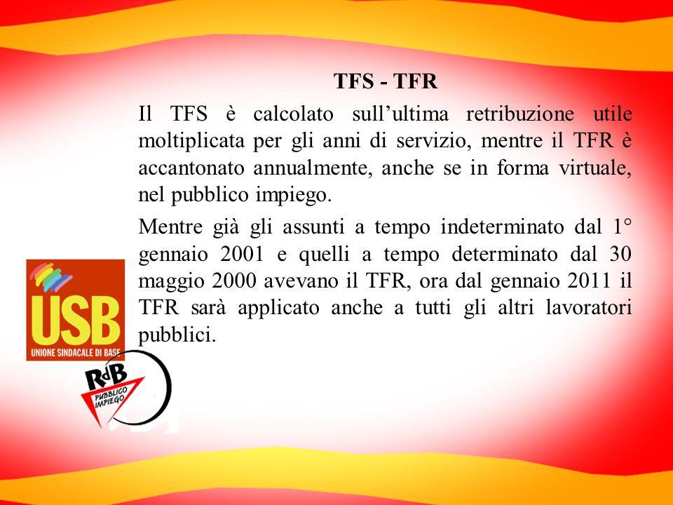 TFS - TFR Il TFS è calcolato sullultima retribuzione utile moltiplicata per gli anni di servizio, mentre il TFR è accantonato annualmente, anche se in