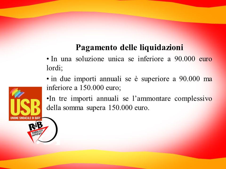 Pagamento delle liquidazioni In una soluzione unica se inferiore a 90.000 euro lordi; in due importi annuali se è superiore a 90.000 ma inferiore a 15