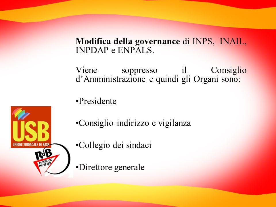 Modifica della governance di INPS, INAIL, INPDAP e ENPALS. Viene soppresso il Consiglio dAmministrazione e quindi gli Organi sono: Presidente Consigli