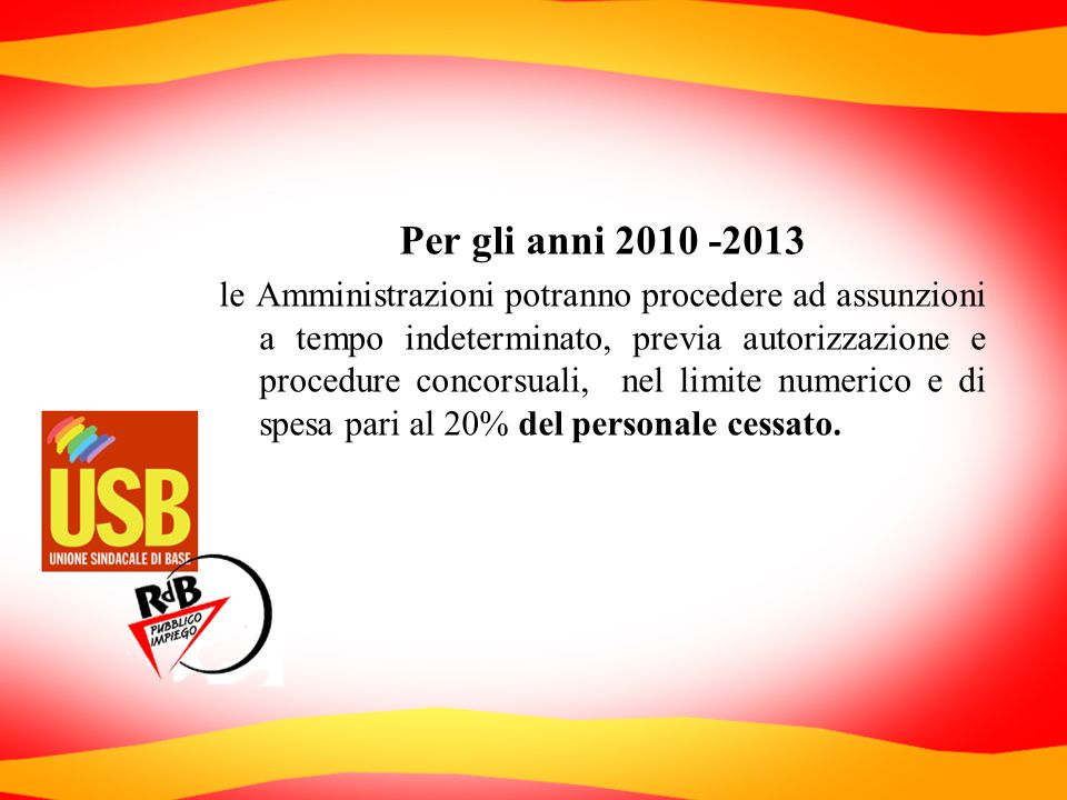 Per gli anni 2010 -2013 le Amministrazioni potranno procedere ad assunzioni a tempo indeterminato, previa autorizzazione e procedure concorsuali, nel