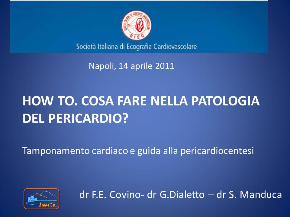 HOW TO. COSA FARE NELLA PATOLOGIA DEL PERICARDIO? Tamponamento cardiaco e guida alla pericardiocentesi Napoli, 14 aprile 2011 dr F.E. Covino- dr G.Dia
