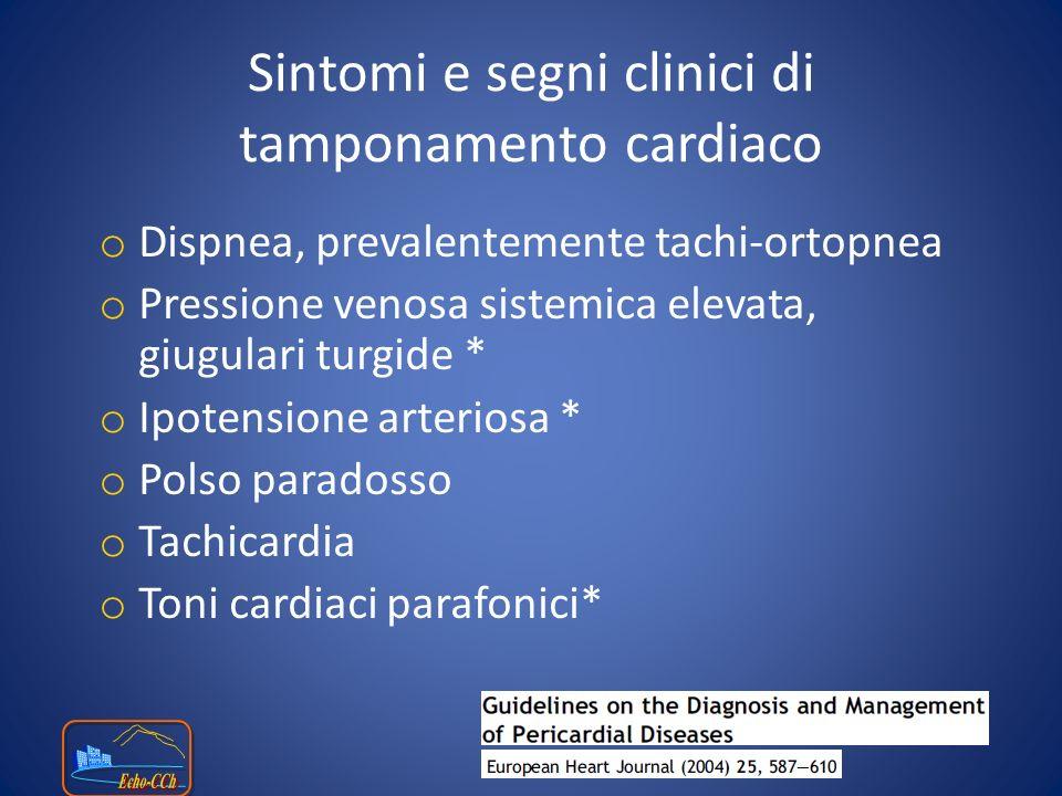 o Collasso diastolico del ventricolo destro.