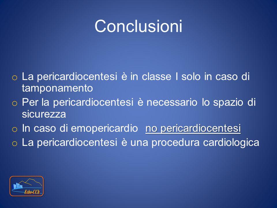 Conclusioni o La pericardiocentesi è in classe I solo in caso di tamponamento o Per la pericardiocentesi è necessario lo spazio di sicurezza no perica