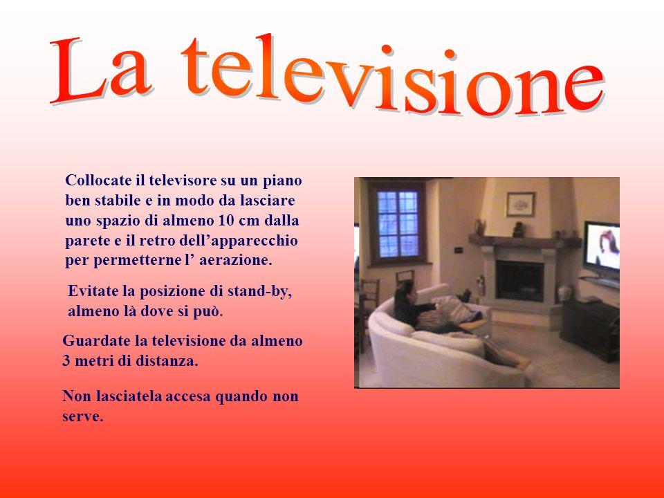 Collocate il televisore su un piano ben stabile e in modo da lasciare uno spazio di almeno 10 cm dalla parete e il retro dellapparecchio per permetterne l aerazione.