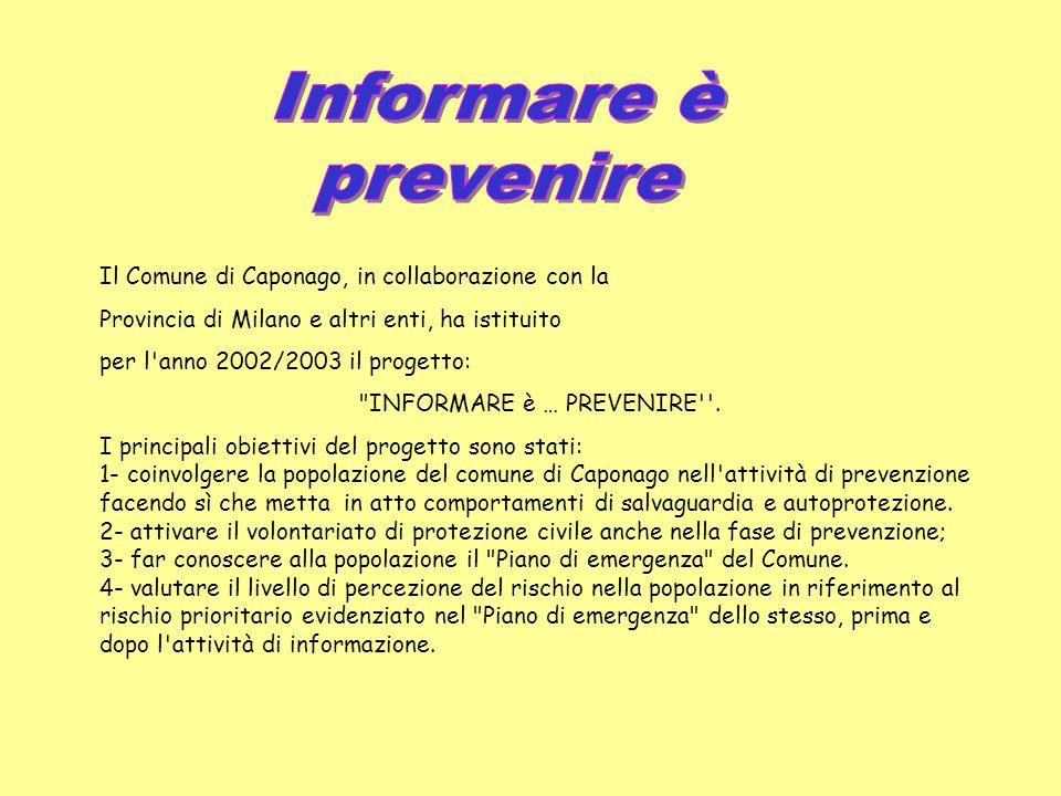 Il Comune di Caponago, in collaborazione con la Provincia di Milano e altri enti, ha istituito per l anno 2002/2003 il progetto: INFORMARE è … PREVENIRE .