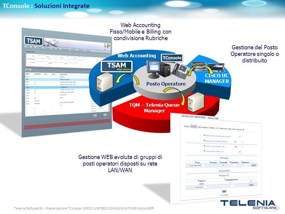 Telenia Software Srl - Presentazione TConsole CISCO UNIFIED COMMUNICATIONS MANAGER Web Accounting Fisso/Mobile e Billing con condivisione Rubriche Web