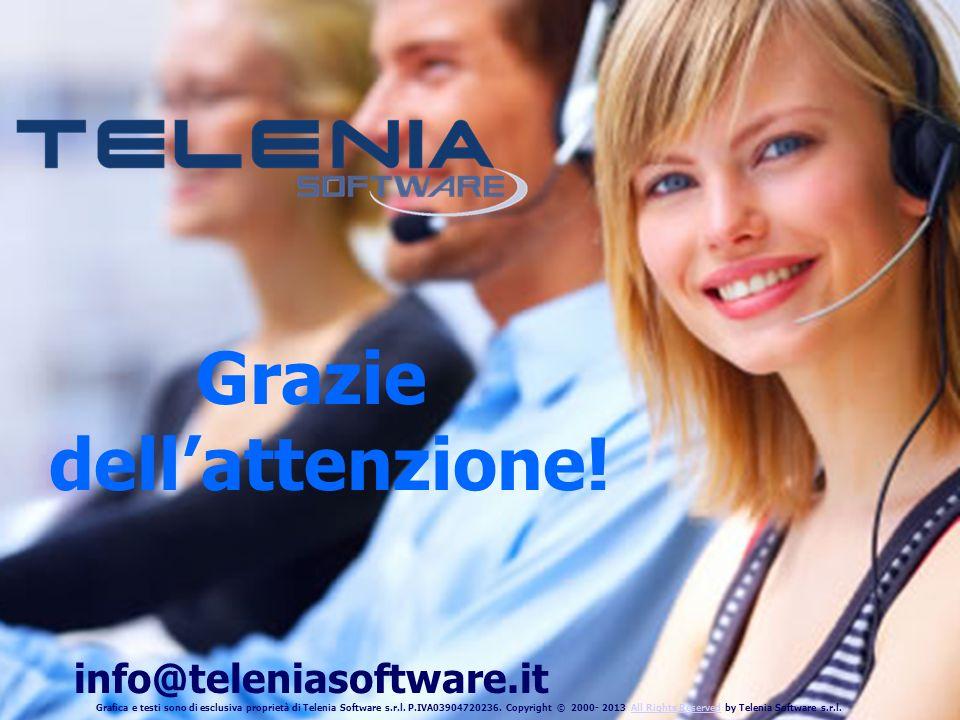 Telenia Software Srl - Presentazione TConsole CISCO UNIFIED COMMUNICATIONS MANAGER Grazie dellattenzione! info@teleniasoftware.it Grafica e testi sono