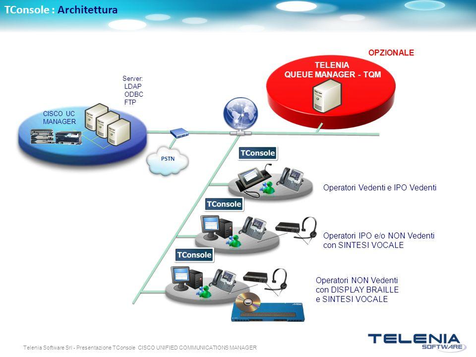 Telenia Software Srl - Presentazione TConsole CISCO UNIFIED COMMUNICATIONS MANAGER TConsole : Architettura PSTN Server: LDAP ODBC FTP TELENIA QUEUE MA