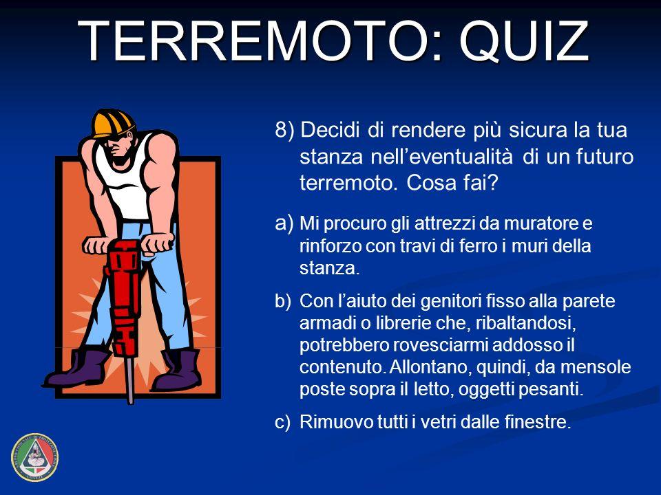 8) Decidi di rendere più sicura la tua stanza nelleventualità di un futuro terremoto.