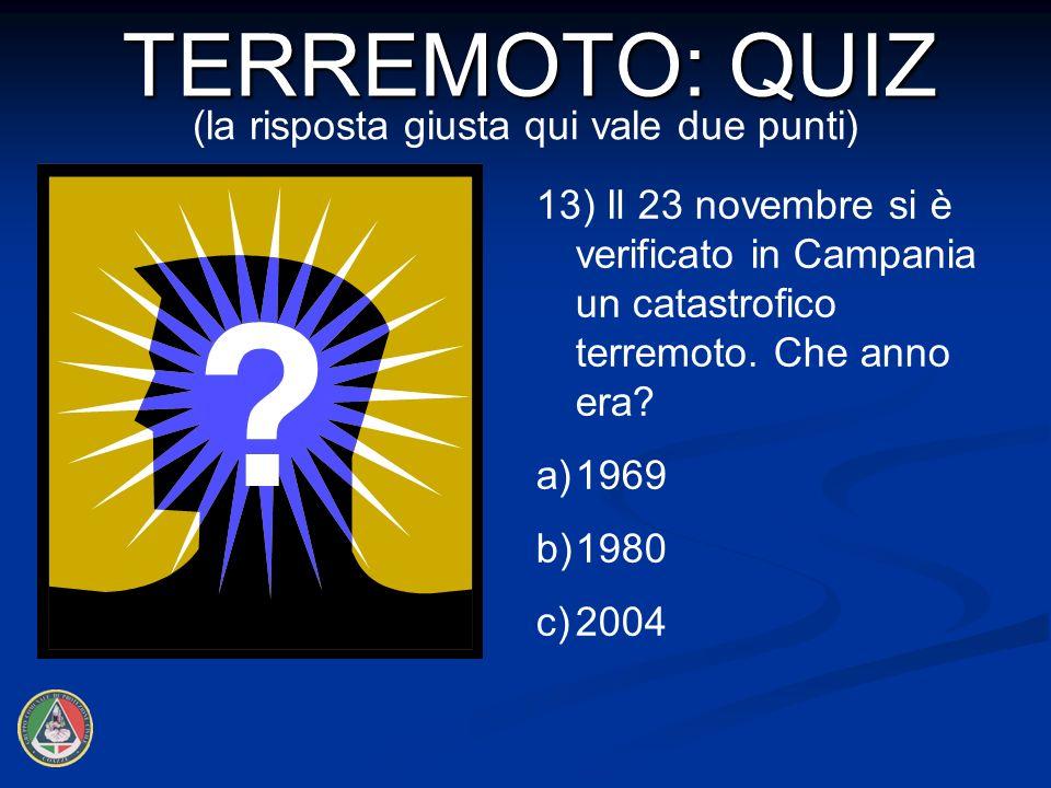 13) Il 23 novembre si è verificato in Campania un catastrofico terremoto.