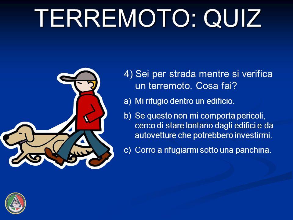 4) Sei per strada mentre si verifica un terremoto.