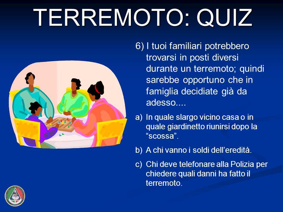 6) I tuoi familiari potrebbero trovarsi in posti diversi durante un terremoto; quindi sarebbe opportuno che in famiglia decidiate già da adesso....
