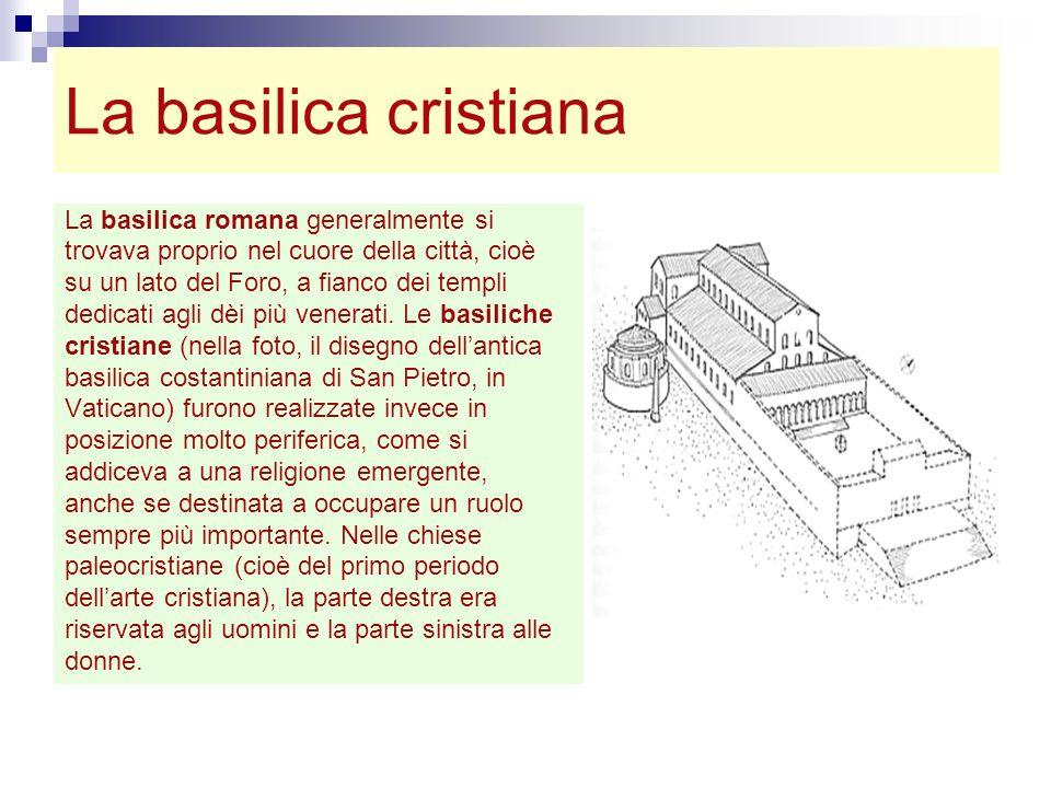 La basilica cristiana La basilica romana generalmente si trovava proprio nel cuore della città, cioè su un lato del Foro, a fianco dei templi dedicati