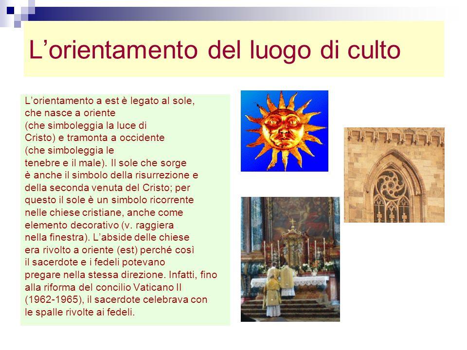 Lorientamento del luogo di culto Lorientamento a est è legato al sole, che nasce a oriente (che simboleggia la luce di Cristo) e tramonta a occidente
