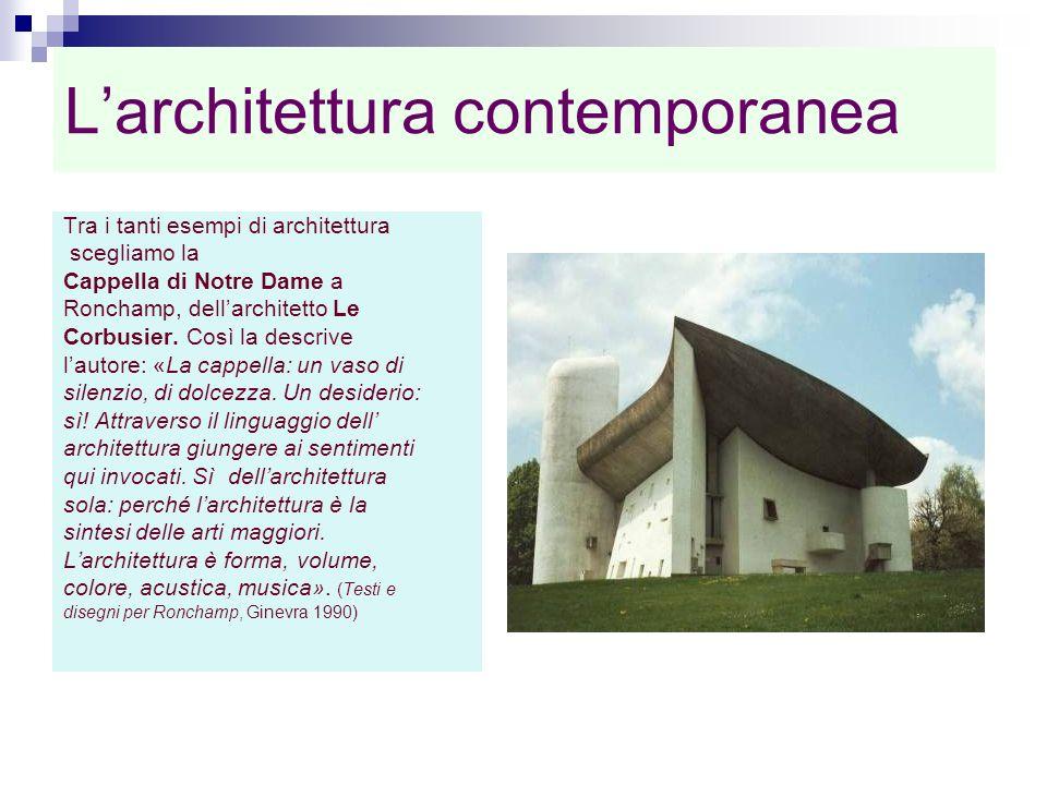 Larchitettura contemporanea Tra i tanti esempi di architettura scegliamo la Cappella di Notre Dame a Ronchamp, dellarchitetto Le Corbusier. Così la de