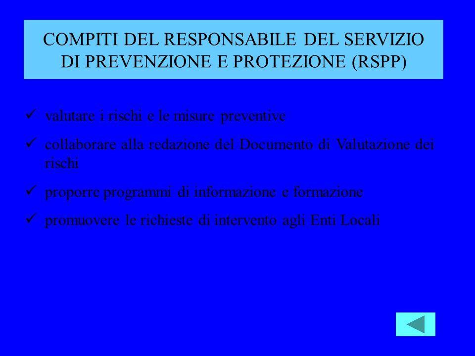 valutare i rischi e le misure preventive collaborare alla redazione del Documento di Valutazione dei rischi proporre programmi di informazione e formazione promuovere le richieste di intervento agli Enti Locali COMPITI DEL RESPONSABILE DEL SERVIZIO DI PREVENZIONE E PROTEZIONE (RSPP)