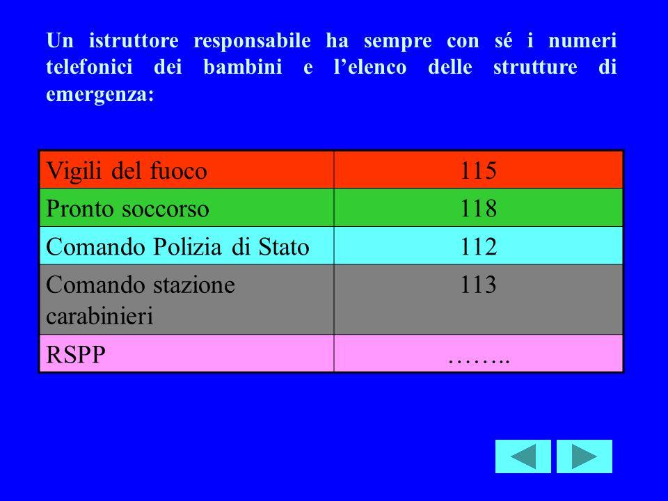 Un istruttore responsabile ha sempre con sé i numeri telefonici dei bambini e lelenco delle strutture di emergenza: Vigili del fuoco115 Pronto soccorso118 Comando Polizia di Stato112 Comando stazione carabinieri 113 RSPP……..