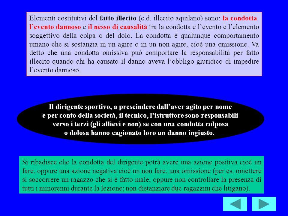 Elementi costitutivi del fatto illecito (c.d.illecito aquilano) sono: la condotta.