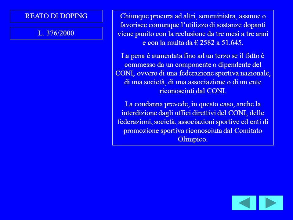 REATO DI DOPING L.