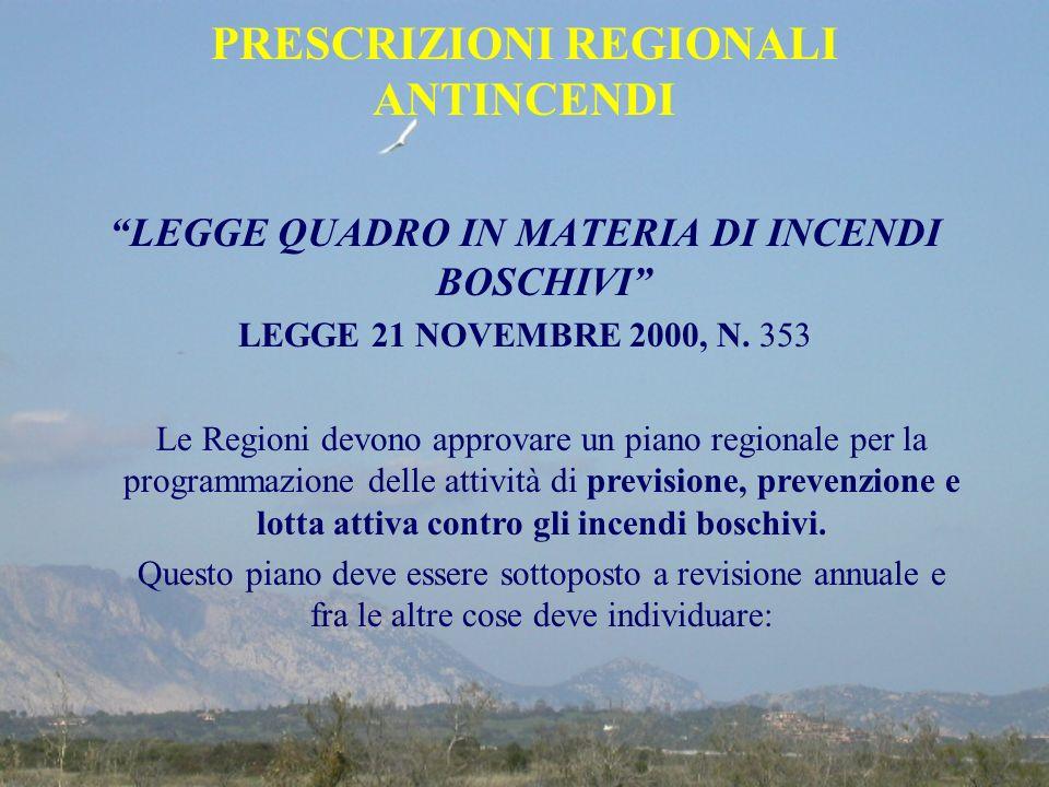 PRESCRIZIONI REGIONALI ANTINCENDI LEGGE QUADRO IN MATERIA DI INCENDI BOSCHIVI LEGGE 21 NOVEMBRE 2000, N. 353 Le Regioni devono approvare un piano regi