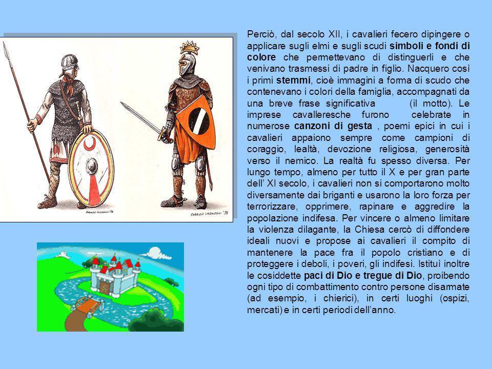 Perciò, dal secolo XII, i cavalieri fecero dipingere o applicare sugli elmi e sugli scudi simboli e fondi di colore che permettevano di distinguerli e