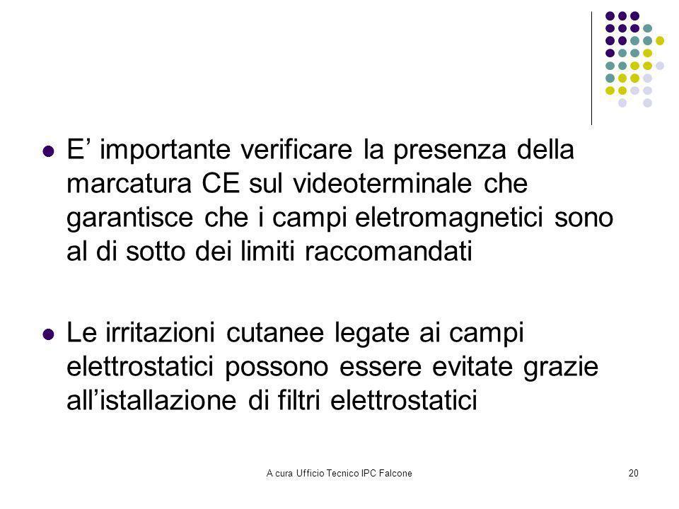 A cura Ufficio Tecnico IPC Falcone20 E importante verificare la presenza della marcatura CE sul videoterminale che garantisce che i campi eletromagnetici sono al di sotto dei limiti raccomandati Le irritazioni cutanee legate ai campi elettrostatici possono essere evitate grazie allistallazione di filtri elettrostatici