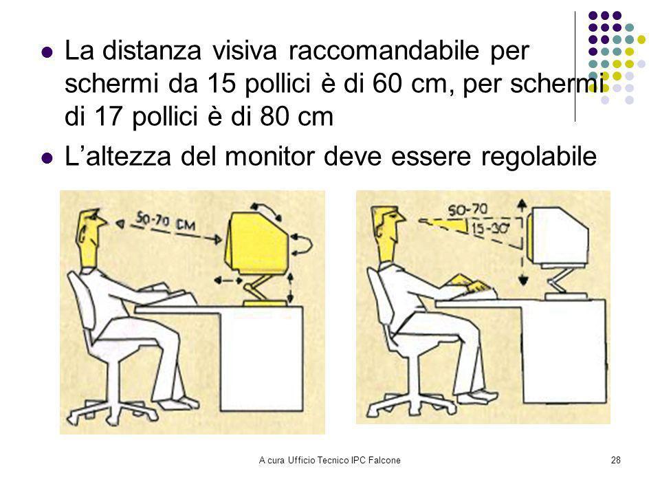 A cura Ufficio Tecnico IPC Falcone28 La distanza visiva raccomandabile per schermi da 15 pollici è di 60 cm, per schermi di 17 pollici è di 80 cm Laltezza del monitor deve essere regolabile