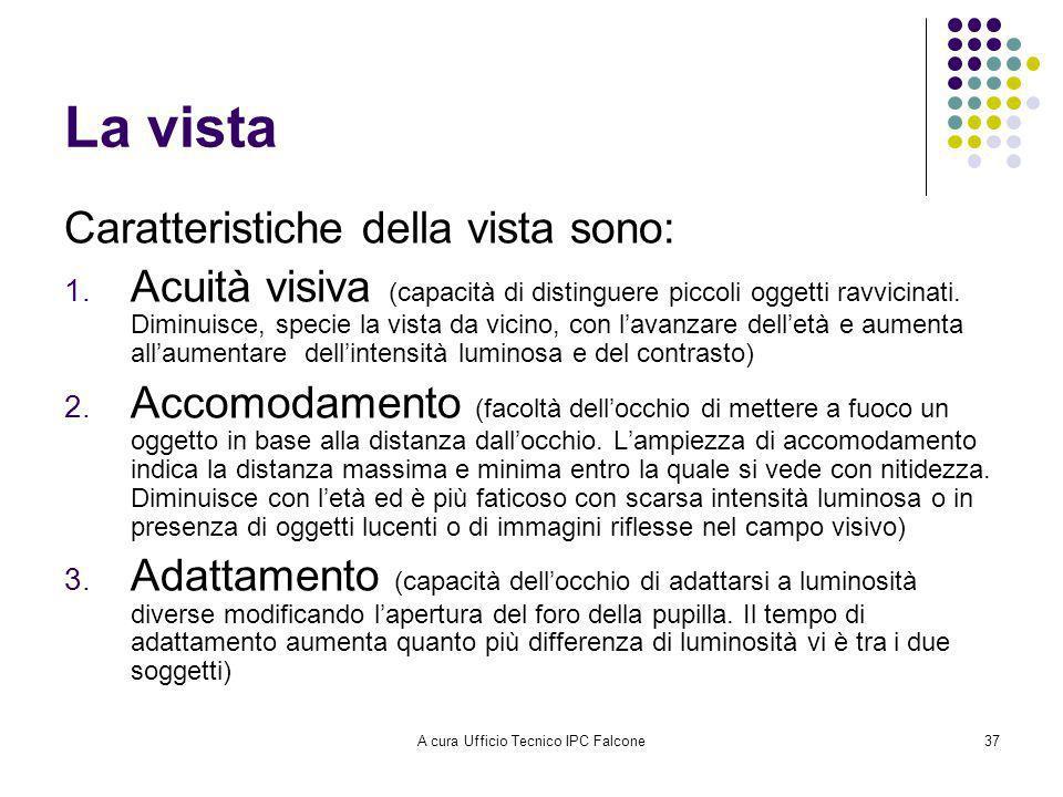 A cura Ufficio Tecnico IPC Falcone37 La vista Caratteristiche della vista sono: 1.