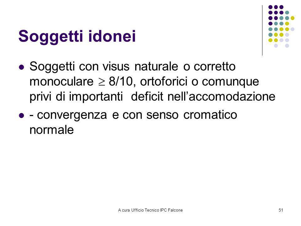 A cura Ufficio Tecnico IPC Falcone51 Soggetti idonei Soggetti con visus naturale o corretto monoculare 8/10, ortoforici o comunque privi di importanti deficit nellaccomodazione - convergenza e con senso cromatico normale