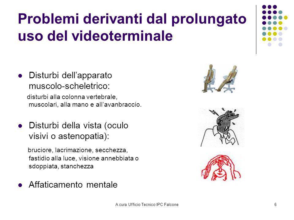 A cura Ufficio Tecnico IPC Falcone6 Problemi derivanti dal prolungato uso del videoterminale Disturbi dellapparato muscolo-scheletrico: disturbi alla colonna vertebrale, muscolari, alla mano e allavanbraccio.