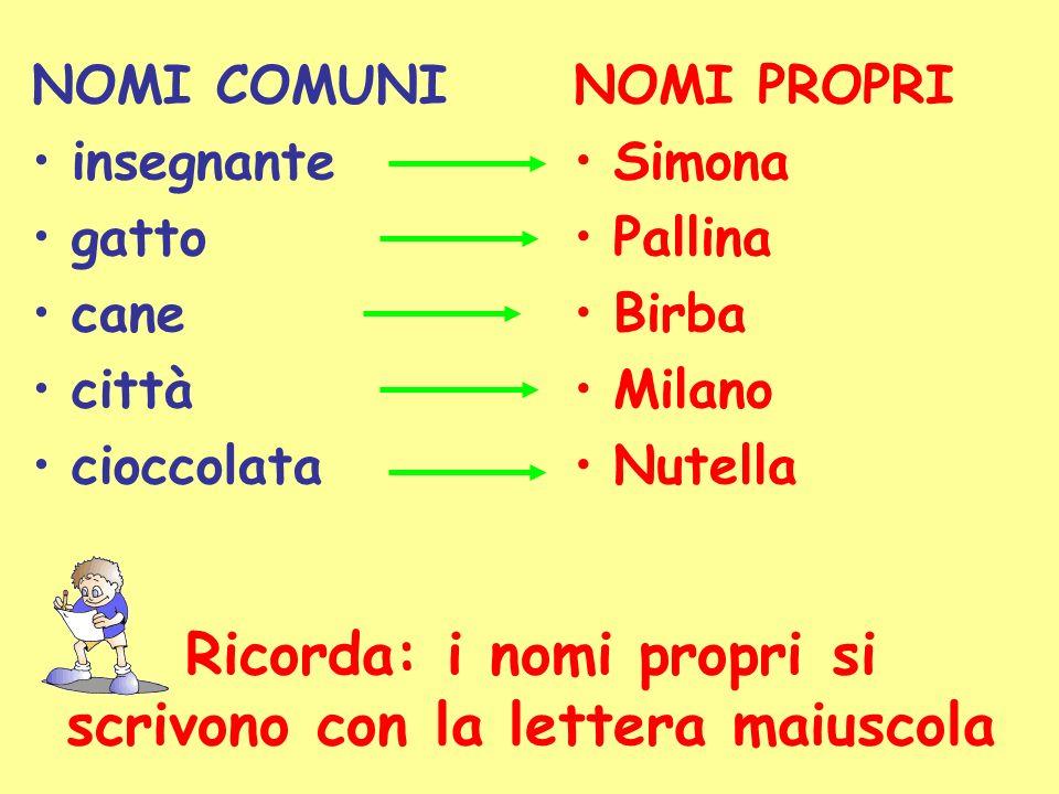 NOMI COMUNI insegnante gatto cane città cioccolata NOMI PROPRI Simona Pallina Birba Milano Nutella Ricorda: i nomi propri si scrivono con la lettera maiuscola