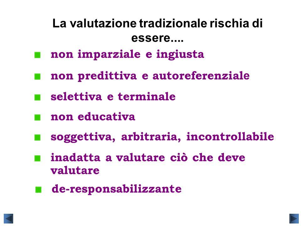 La valutazione tradizionale rischia di essere.... soggettiva, arbitraria, incontrollabile non predittiva e autoreferenzial e non educativa non imparzi