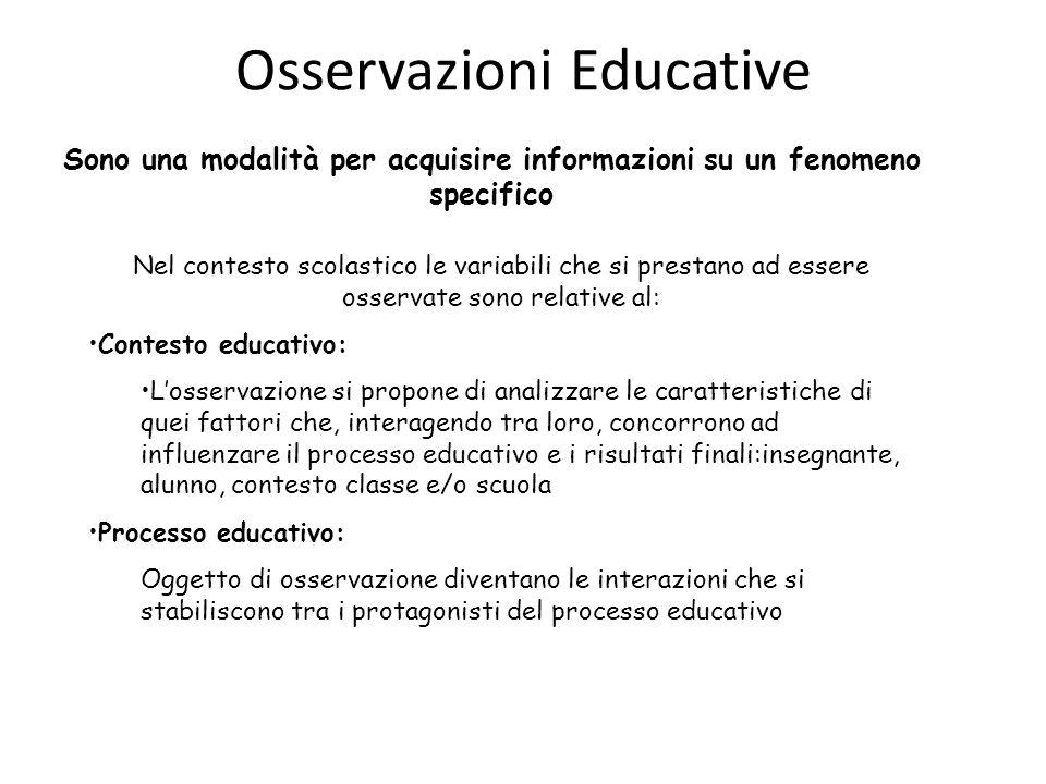 Osservazioni Educative Sono una modalità per acquisire informazioni su un fenomeno specifico Nel contesto scolastico le variabili che si prestano ad e