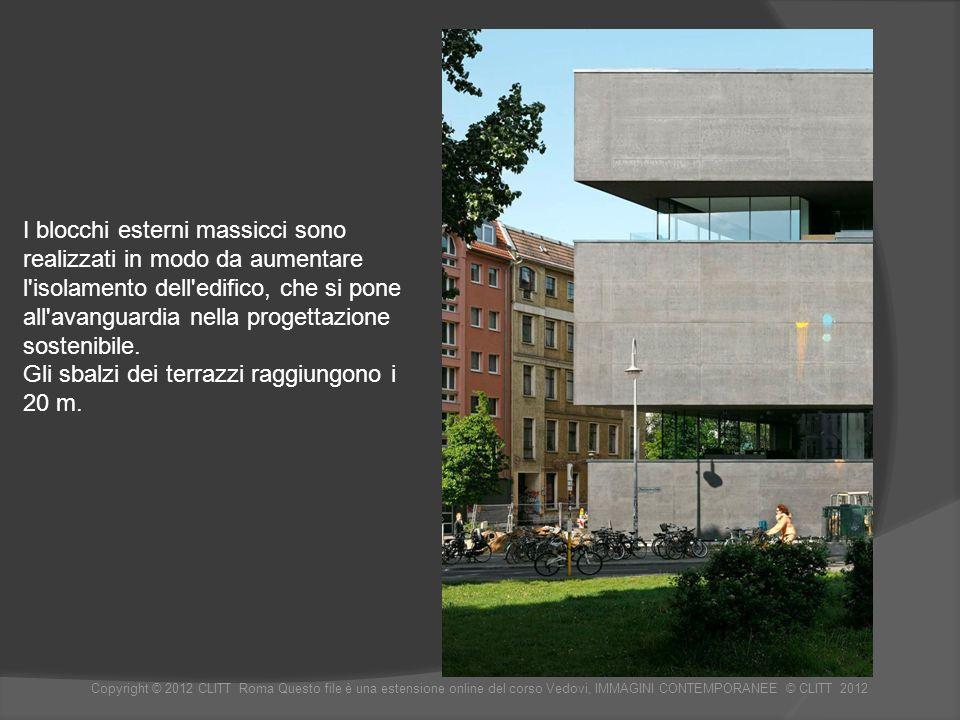 I blocchi esterni massicci sono realizzati in modo da aumentare l isolamento dell edifico, che si pone all avanguardia nella progettazione sostenibile.
