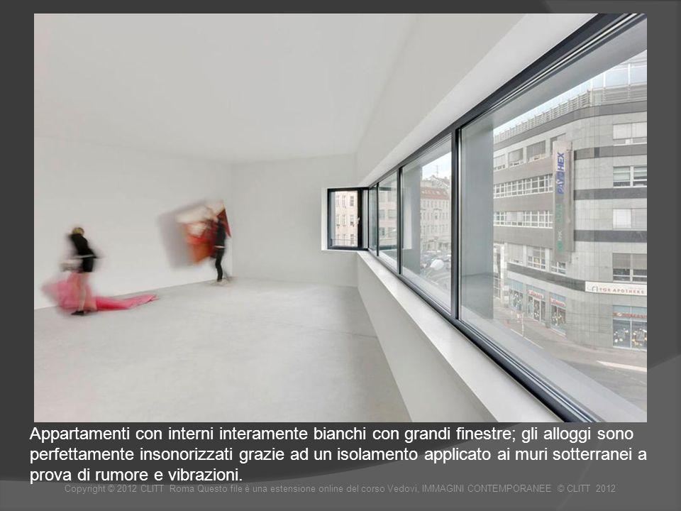 Appartamenti con interni interamente bianchi con grandi finestre; gli alloggi sono perfettamente insonorizzati grazie ad un isolamento applicato ai muri sotterranei a prova di rumore e vibrazioni.