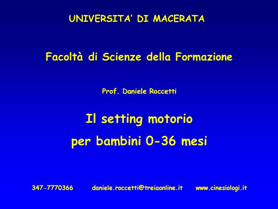 Facoltà di Scienze della Formazione Prof. Daniele Roccetti Il setting motorio per bambini 0-36 mesi 347-7770366 daniele.roccetti@treiaonline.it www.ci