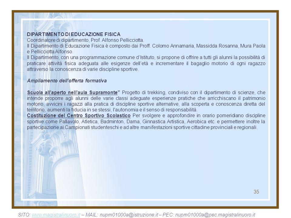 35 DIPARTIMENTO DI EDUCAZIONE FISICA Coordinatore di dipartimento, Prof. Alfonso Pellicciotta. Il Dipartimento di Educazione Fisica è composto dai Pro