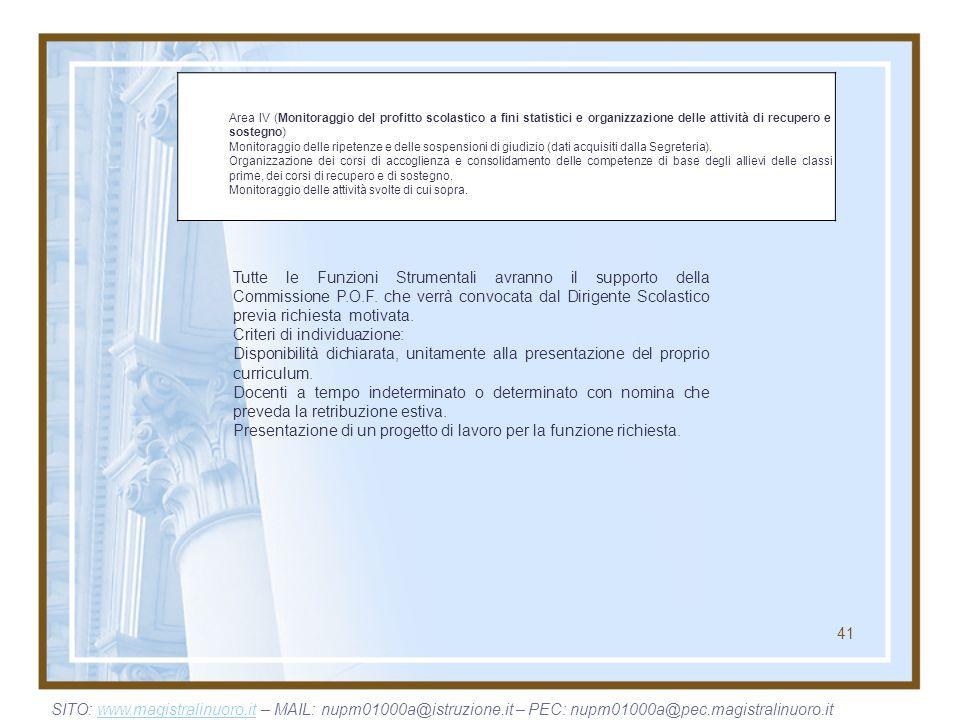 41 Area IV (Monitoraggio del profitto scolastico a fini statistici e organizzazione delle attività di recupero e sostegno) Monitoraggio delle ripetenz