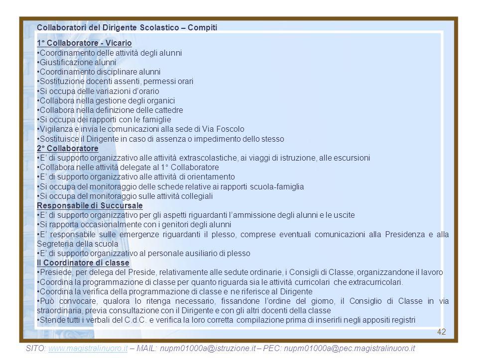 42 Collaboratori del Dirigente Scolastico – Compiti 1° Collaboratore - Vicario Coordinamento delle attività degli alunni Giustificazione alunni Coordi